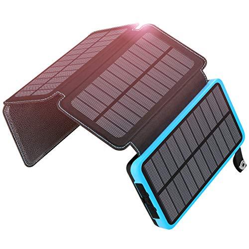 ADDTOP Solar Powerbank 25000mAh, Solar Ladegerät mit 4 Sonnenkollektoren Schnellladung Wasserdichte Tragbare Externe Akkus LED-Taschenlampe für iPhone, Samsung Galaxy, iPad, Android-Handy