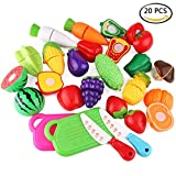 WLot 20PCS Geschnittenes spielzeug obst und gemüse Spielzeug Lebensmittel Küchenspielzeug Schneiden Kinder Pädagogisches Lernen Spielzeug Rollenspiele