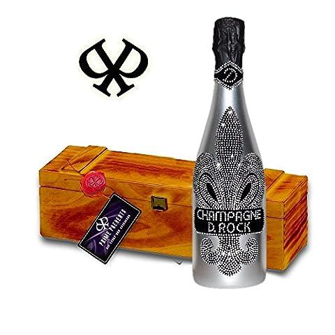 D. Rock Silver Luxus-Champagner Geschenkset - in der gesiegelten Vintage-Holzkiste.