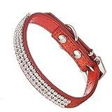 Lovpe, Hundehalsband, mit Glitzerpuder, aus Leder, mit Bling-Kristallen, Haustier-Halsband, verstellbare Halsbänder für Hunde