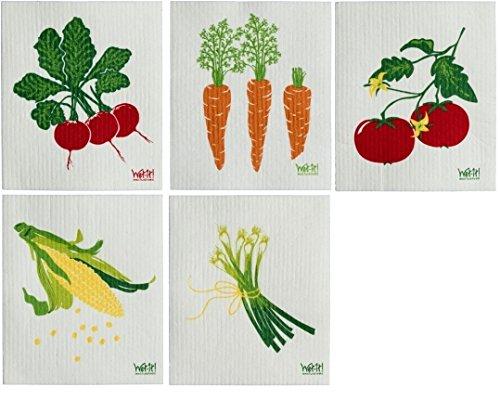 Swedish Treasures befeuchten Sie Schwedische Dishcloths Gemüse (zwiebeln Karotten Mais radieschen & Tomaten) Satz von 5 Veggie-Sammlung - Desinfizieren Geschirrspüler
