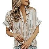 Bluse Damen Sommer LUCKYCAT Kurzarm Gestreiftes Hemd Mode Damen Revers Colorblock Gestreiftes T-Shirt Kurzarm V-Ausschnitt Tops Bluse Weste T-Shirt Hemd Bluse Tops T-Shirt Oberteil (S(AsianS=EUXS), Mehrfarbig)