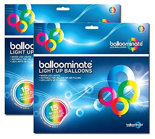 Balloominate Mixto - paquete de 30. Globo mixto iluminado Globos. Ideal para fiestas y celebraciones