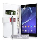 Yousave Accessories Custodia Portafoglio in Pelle Pu Per Per Sony Xperia T2 Ultra, Bianco