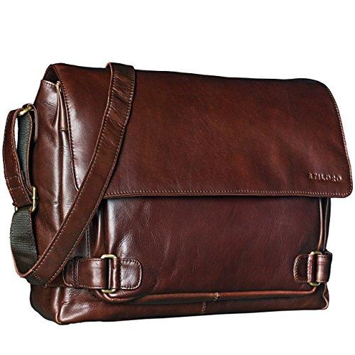 STILORD 'Luca' Borsa da Postino Vintage Design Uomo Donna Business Borsa per il portatile 15.6 pollici, Colore:marrone scuro - pallido marrone - cioccolata