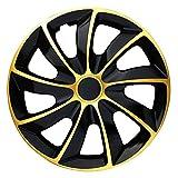 (Größe wählbar) 15 Zoll Radkappen / Radzierblenden QUAD Bicolor (Schwarz-Gold) passend für fast alle Fahrzeugtypen – universal