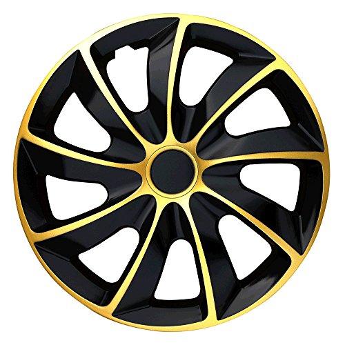 (Größe wählbar) 16 Zoll Radkappen / Radzierblenden QUAD Bicolor (Schwarz-Gold) passend für fast alle Fahrzeugtypen – universal