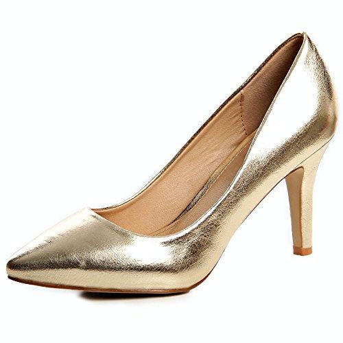 topschuhe24 622 Damen Pumps High Heels Lack Gold