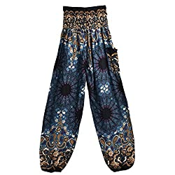 Kobay Men Women Yoga Pants, Thai Harem Trousers Boho Festival Hippy Smock High Waist Yoga Pants