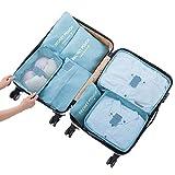 Cocogo 7 Set de Organizador de Equipaje, Impermeable Organizador de Maleta Bolsa para Ropa Sucia de Viaje, Material Nylon Accessorios de viaje