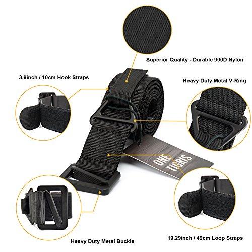 """OneTigris tattico CQB cintura adjutable Nylon Cintura 1,75""""con fibbia in metallo per caccia Rigger Sopravvivenza di emergenza, Uomo, Tactical Web Belt, Black"""