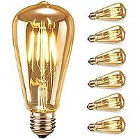 Bombilla de Filamento LED, Samione Vintage E27 Edison Bombilla Tungsteno Filamento Blanco Cálido Decorativa Bombilla de Incandescente de 40w, 6 Unidades