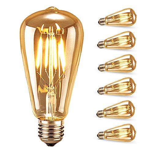 Edison Vintage Glühbirne, Samione Warmweiß E27 LED Lampe Retro Glühbirne Antike Beleuchtung, Ideal für Retro Beleuchtung im Haus Café Bar Restaurant usw 6 Stück [Energieklasse Energieklasse A++]
