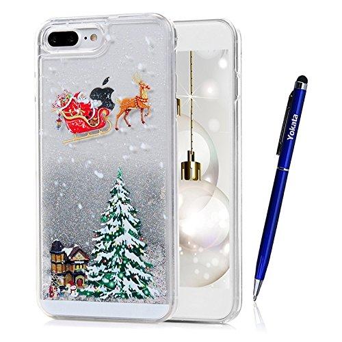 Coque iPhone 7 Plus, Yokata PC Hard Case Flash Liquide 3D Transparente Cover Arbre de Noël et Renne Motif Shell Bling Glitter Crystal Etui Housse de Protection Étui