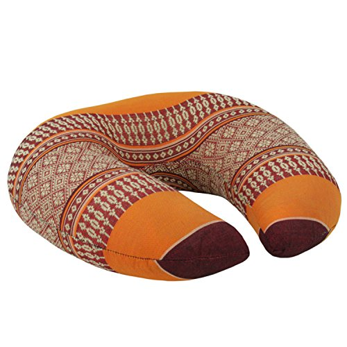 Nackenhörnchen Nackenkissen Nackenrolle Kissen Hörnchen Thaikissen Baumwolle Kapok Thai-Motiv Orange Rot