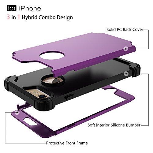 WE LOVE CASE iPhone 6 Plus / 6S Plus Coque, Étui de Protection en Premium Hard Plastique Dur Housse Mince et Clair, 2 in 1 Bumper Anti-Rayures Cas Couverture Anti-dérapante Coque pour Apple iPhone 6 P violet