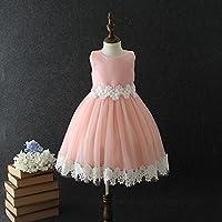 QTONGZHUANG Kurzarm Dress_Girl Kurzarm-Kleid Korean Dreidimensionale Blume Kinderkleid