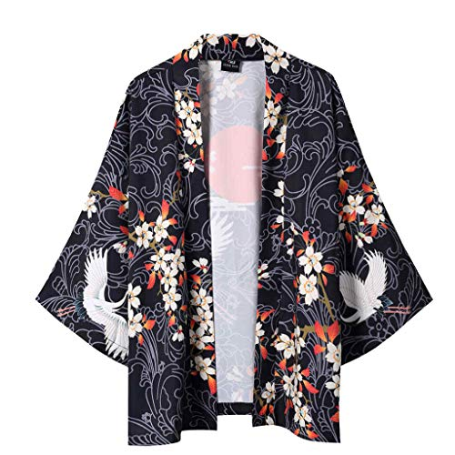 BHYDRY Sommer japanische fünf Punkt Ärmel Kimono Herren und Damen Mantel Jacke Top Bluse(X-Large,Schwarz) -