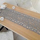 Camino de mesa de fieltro, 102 x 29 cm, mantel de flores huecas, manteles individuales, posavasos, manteles de mesa, decoración del hogar, lavable, decoración de comedor, gris claro, Tamaño libre