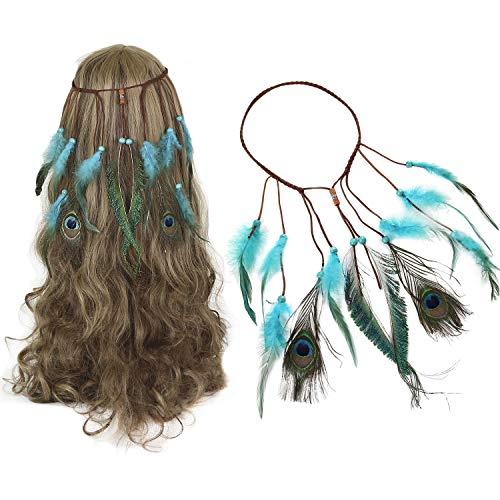Boho Feder Haarband, Qianyou Quaste Stirnband mit Federn für Damen Hippie Perlen Haarschmuck Einstellbar Stirnbänder Kopfschmuck für Kostümpartys, Karnevalskostüm, Kopfbedeckung (Blau)