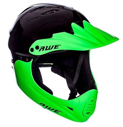 AWE® gratis 5Jahr Crash Ersatz * BMX Full Face Helm schwarz grün groß 58–62cm (Full-face Bmx Helme)