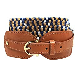 Tommy Hilfiger Womens Woven Stretch Belt, Navy Khaki (Small)