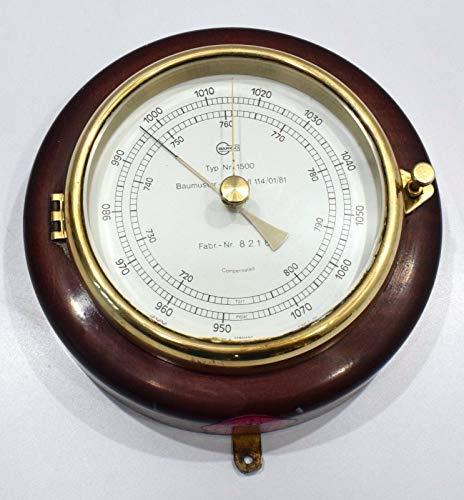 Barigo Aneroid - Barómetro de latón con marco de madera antigua