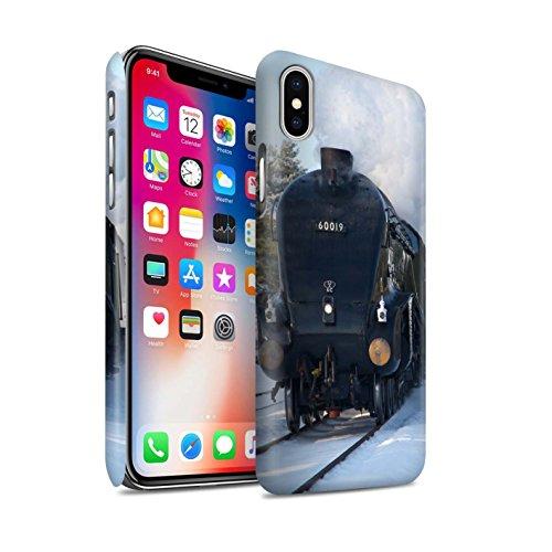 STUFF4 Matte Snap-On Hülle / Case für Apple iPhone X/10 / Scotsman/Bahnsteig Muster / Dampflokomotive Kollektion Bittern/Schnee