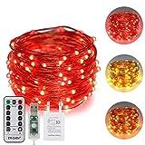 ErChen USB Strom-betrieben Zweifarbige Led Lichterketten, 33 FT 100 Leds Farbe ändern Dimmbar 8 Modi Kupfer Draht-Lichterketten mit Fernbedienung Timer für Innen Außen Christmas (Warmweiß, Rot)