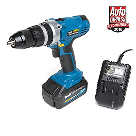 Wolf Professional 2 Speed 20v Lithium Li-Ion Cordless Combi Drill Kit 2 Speed Gearbox with 3Ah Battery & Charger