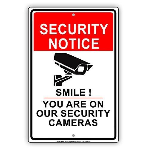 avis de sécurité Smile vous êtes sur Nos avis de mise en garde Caméras vidéo Survillance CCTV Aluminium Panneau en métal Signes vintage Tin plaques Signes décoratifs Pancarte 8 x 12