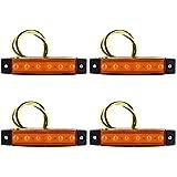 4x 6LED Seitenleuchten für LKW Bus Trailer Indikatoren Lichter Seitenmarkierungsleuchte 12V in 3 Farben (Gelb)
