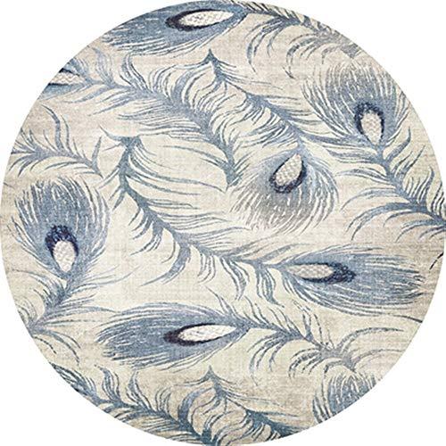 XIGE Moderner runder Teppich-Blaue Feder-Wolldecken-super weiche Nachtfußboden-Matten-Ausgangsantirutsch-Tür-Matten-Computer-Stuhl-Boden-Auflage (Size : 200 * 200cm/78.74 * 78.74in) -