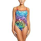 Zoggs Bañador para Mujer Machina Aqua Back, Mujer, Machina Aqua, Multi-Colour/Neon Cherry, 38