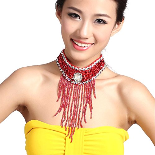 Danse du ventre Tribe Lndian femmes Fashion Crystal Pendant Necklace With Tassel Beads red