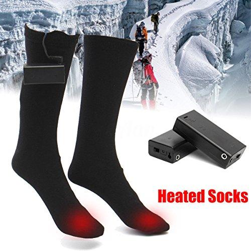 ZooArts® Calcetines de bota calefactables a pilas (1 par), negro, Medium