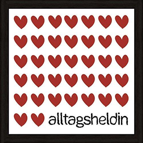 Artland Wand-Bild Poster Kunstdruck mit Rahmen Jule Alltagsheldin Statement Bilder Sprüche & Texte Digitale Kunst Rot