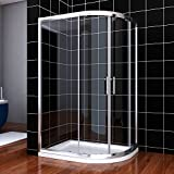 ELEGANT 1200 x 800 mm Right Quadrant Shower Enclosure 6mm Sliding Glass Cubicle Door with Tray + Waste