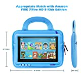 MoKo 7-8 Inch Kid Sleeve for Amazon Tablet, Portable Neoprene Case Bag Fits Fire HD 8 Kids Edition, Fire 7 Kids Edition 2019/2017, Fire HD 8, Fire 7 Tablet Kindle E-reader - Space Light Blue