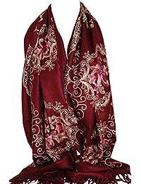 Belle broderie Pashmina Feel Wrap Echarpe Foulards Echarpe Châle Hijab 8c3c51fa1c1