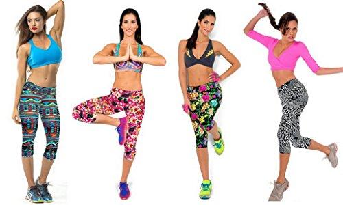 Bigood Femme Pantalon 3/4 Harlan Leggings Floral Collant Elastique Slimmer de Sport MulticoloreL