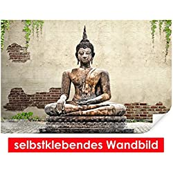 Selbstklebendes–cuadro de Buda Estatua–Fáciles de pegar–Wall Print, Wall Paper, Póster, pantalla con pegamento de puntos de vinilo para paredes, puertas, muebles y superficies lisas de Trend paredes, 90 x 60 cm