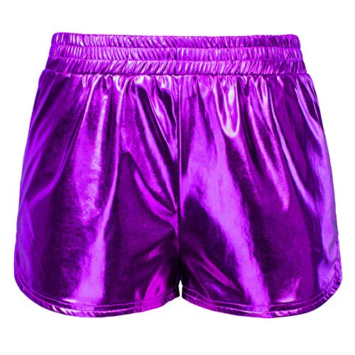 ort Yoga Hot Pants Glänzende Metallic Boxer Kurze Hose Lila (862-7) Medium ()