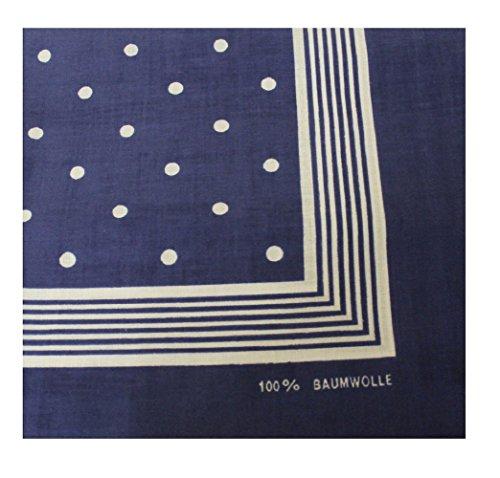 Tobeni 000803 Damen Herren Nickituch Kopftuch Bandana Halstuch Punkte Baumwolle Unisex Farbe Marine Blau Grösse 55 cm x 55 cm -