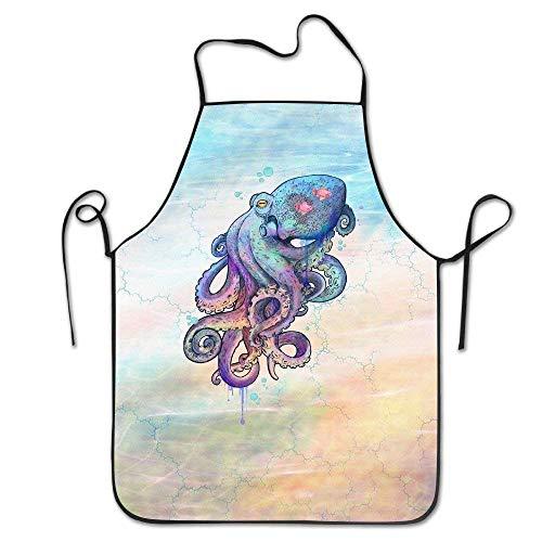 dfhfdsh Küchenschürze,Grillschürzen,Traditional Octopus with Little Fish Black Complete Lock Edge Kitchen Apron Waterproof Waiter Apron