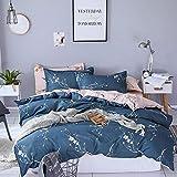 حجم كينغ,نسيج قطن,نمط مزين بالورود,ازرق - اطقم اغطية سرير