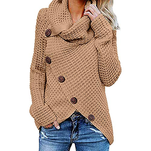 Dorical Frauen Kleidung Langarm Solid Sweatshirt Pullover Tops Plus Size Fashion Bluse Shirt Clearance (XXXXX-Large, Khaki)