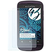 Bruni Alcatel One Touch 918D Folie - 2 x glasklare Displayschutzfolie Schutzfolie für Alcatel One Touch 918D