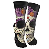ouyjian Vintage Sugar Skull and Roses Athletic Sports Calcetines,Travel & Flight Calcetines,Painting Art Printed Funny Calcetines.