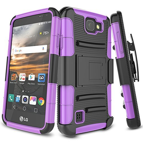 Virgin Mobile (TILL LG K3 Fall, bis [Knight Armor] Heavy Duty Rugged Holster federnden Armor Case [drehbarem Gürtelclip] [Standfunktion] Combo Cover Shell für LG K3 Boost Mobile/Virgin Mobile LS450, Balck/Purple)